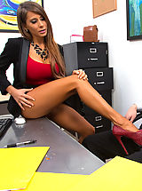 Gorgeous busty Madison Ivy decides to screw a co worker on the desk before she is done for the day.