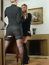 Miss Drogan and Stephanie Wright Slutty Pupils in Lingerie Stockings plus High Heels