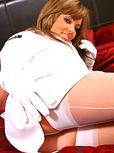Only Tease, Sexy Kim B wearing top gun uniform with white stockings and high heels.